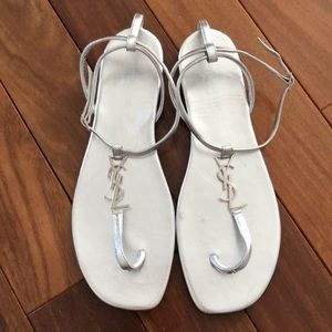 YSL silver flat sandals size 40